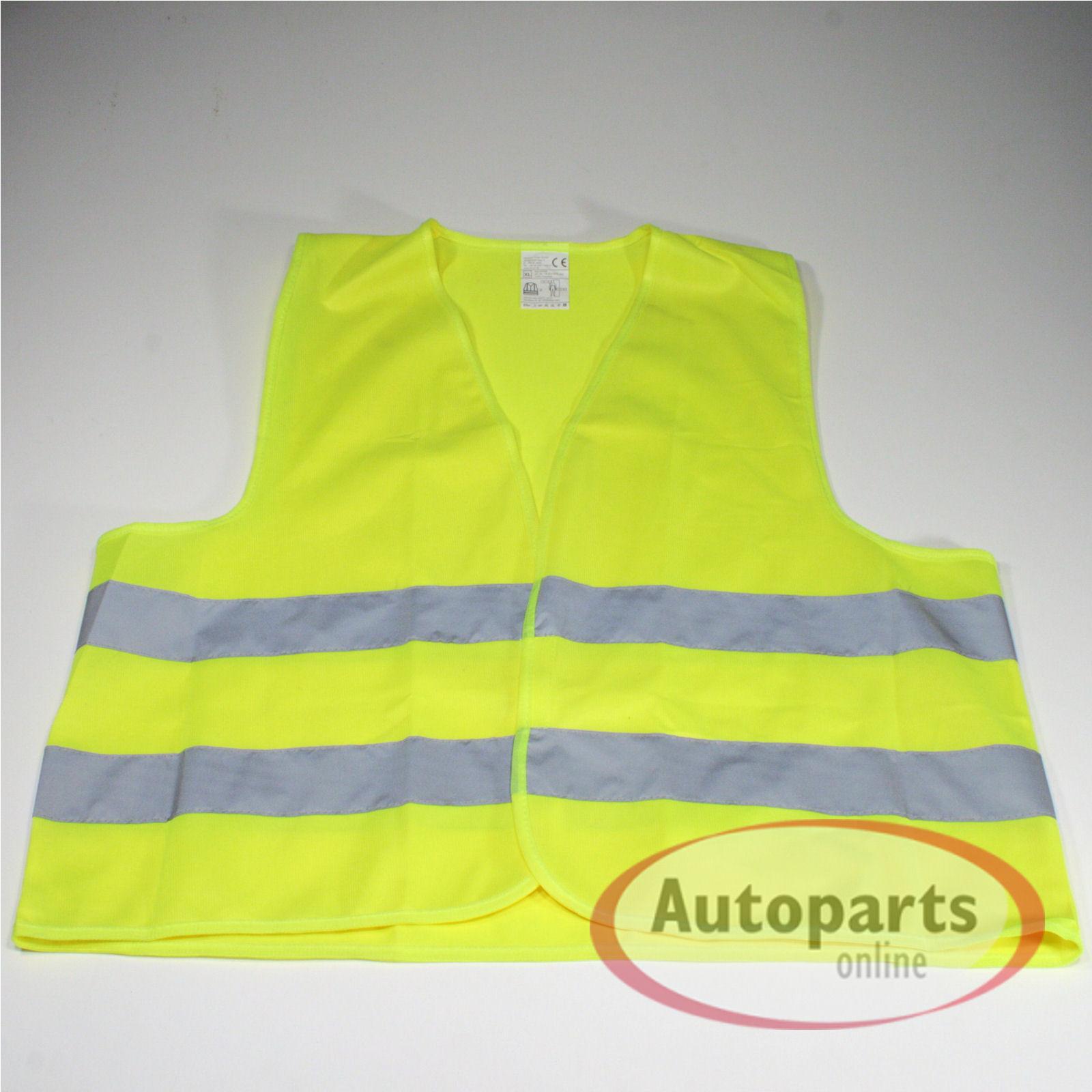 Hochwertige Warnweste Sicherheitsweste Pannenweste Unfallweste gelb selbstreflektierend Größe XL