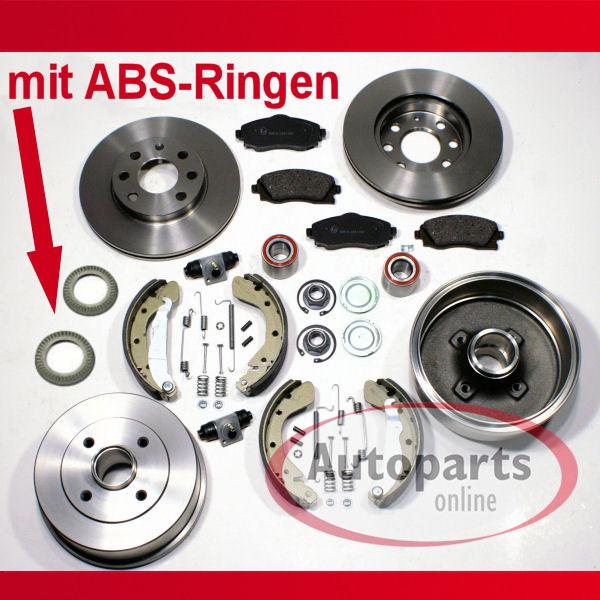 ABS Bremstrommel Set f/ür hinten Bremsscheiben//Bremsen f/ür vorne