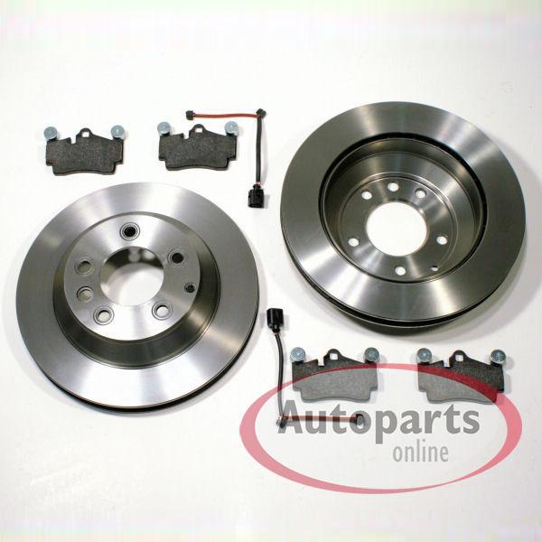 Porsche Cayenne - Bremsscheiben 17 18 Zoll Bremsen + Bremsbeläge + Warnkabel für hinten / die Hinterachse